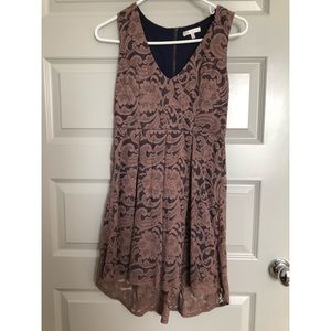 Tan and Navy Lace Dress- Size S
